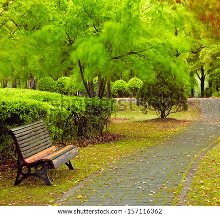 Green city park. Shanghai, China - stock photo