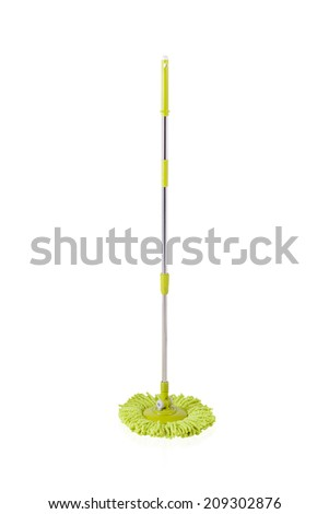 Green cleaning mop isolated on white background - stock photo