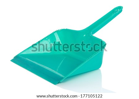 Green cleaning scoop against white background. Cleaning equipment - stock photo