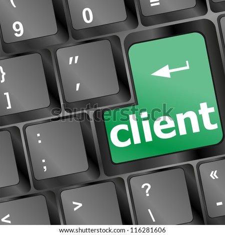 green client key in black computer keyboard - business concept. raster - stock photo