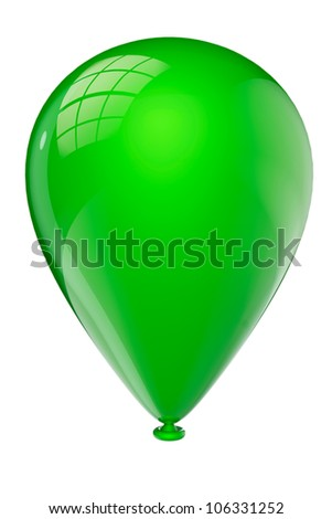 Green closeup balloon on a white background - stock photo