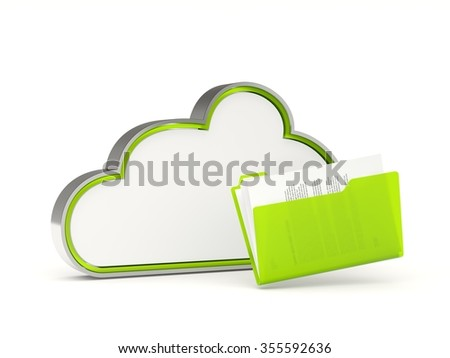 Green cloud drive icon with folders isolated on white