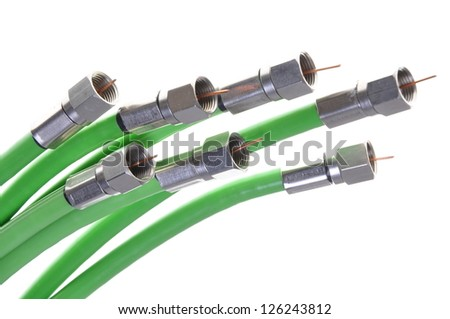 Green coaxial cable tv withe connectors - stock photo