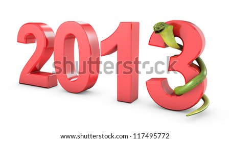 Green cobra 2013 new year symbol, isolated on white background