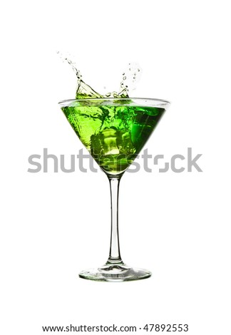 green cocktail drink splash - stock photo