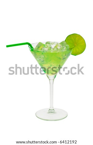 green cocktail with slice of lime isolated on a white background