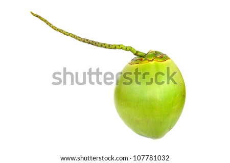 Green coconut Fruit isolated on white - stock photo