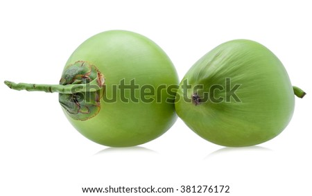 Green coconut fruit on white  - stock photo