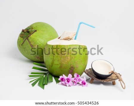 Green coconut on white background. Organic healthy food concept.