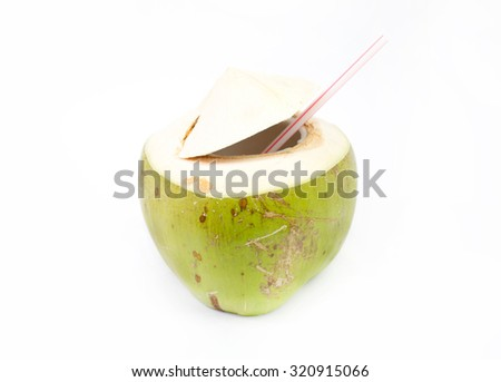 Green coconuts with drinking - stock photo