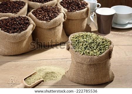 green coffee beans - stock photo