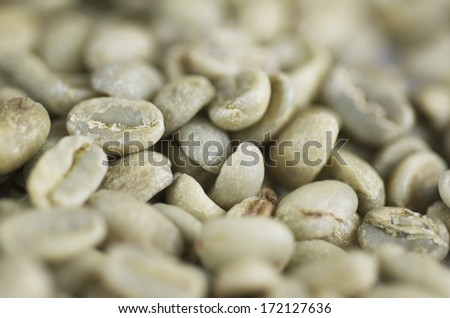 Green Coffee Beans Close Up - stock photo
