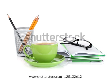 Green coffee cup, glasses and office supplies. Isolated on white background - stock photo