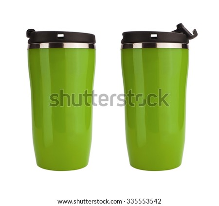 Green coffee flask isolated on white - stock photo