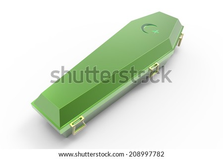 Green coffin, isolated on white, 3d render - stock photo