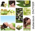 Green collage of wellness - spa issues with beautiful young women and a flower - stock photo
