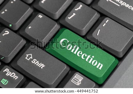Green collection key on keyboard - stock photo