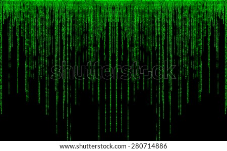 Green color code streams glowing on screen - stock photo