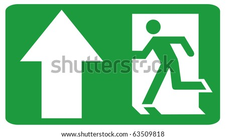 Green color Fire emergency exit sign upwards direction - stock photo