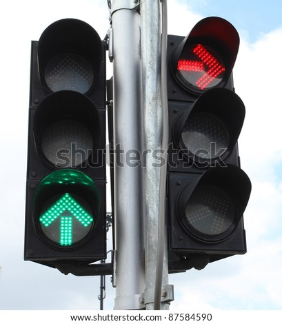 Green color Go straight & Red color No Turn right on traffic. - stock photo