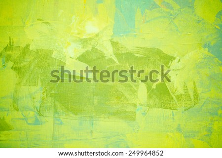 Green color oil painting texture. Abstract background  - stock photo