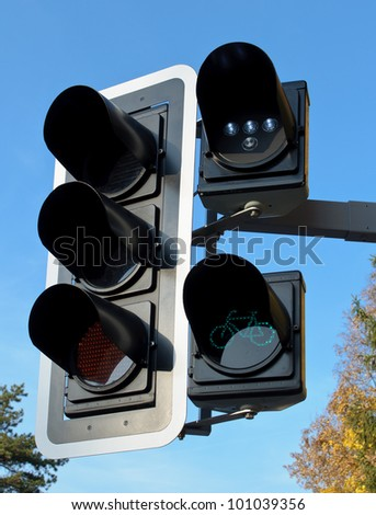 Green color on the traffic light for bicycles. - stock photo