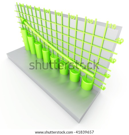 green columns of diagram with arrow rising upwards - stock photo