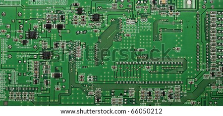Green computer circuit detail - stock photo