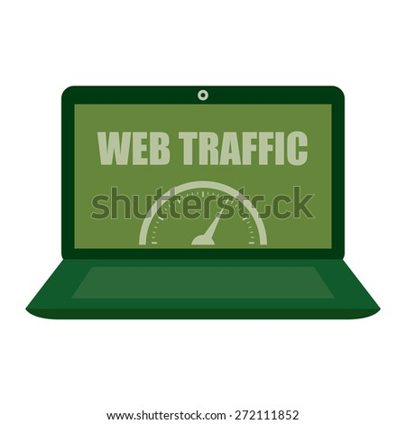 Green Computer Laptop With Web Traffic Label, Sign or Icon Isolated on White Background - stock photo