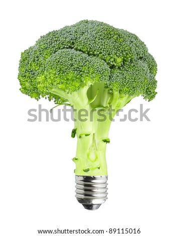 Green concept - broccoli with bulb screw isolated on white - stock photo