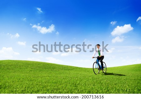Green Concept Business Man Cycling Bicycle Outdoors