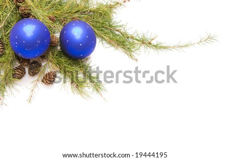 green conifer with cones, blue baubles and white copy space