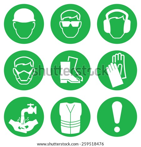 Green Construction and manufacturing Industry Health and Safety Icon collection isolated on white background - stock photo