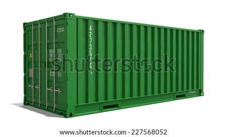 Green Container on Isolated White Background. Industrial Concept. - stock photo