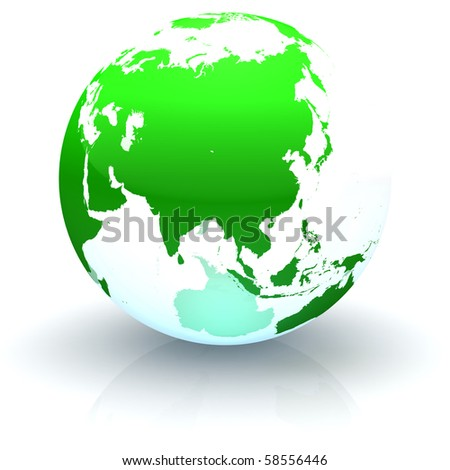 Green continents-only transparent globe illustration with highly detailed continents facing Asia - stock photo