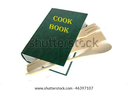 Green cook book isolated on white - stock photo
