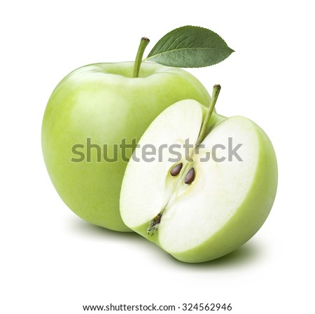 Green cooking apple and half isolated on white background as package design element - stock photo