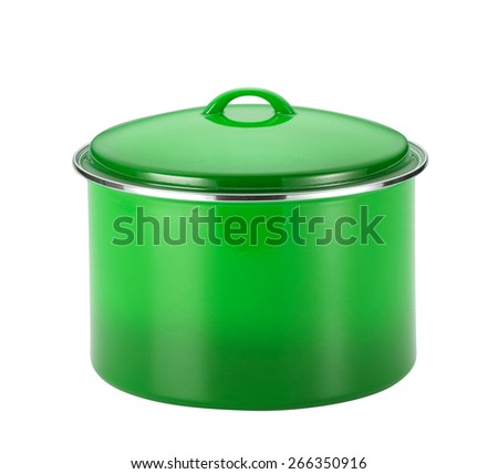 green cooking pot - stock photo