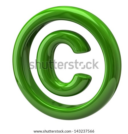 Green copyright symbol - stock photo