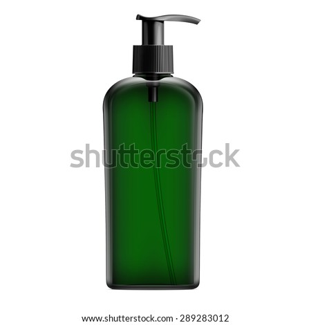 Green Cosmetic Bottle With Batcher - stock photo