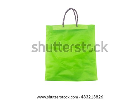 green cotton bag on a white background .