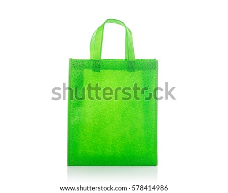 Green cotton bag. Studio shot isolated on white background
