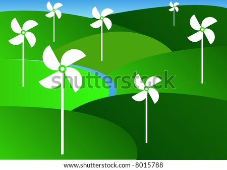 green countryside with several wind turbine generator - stock photo