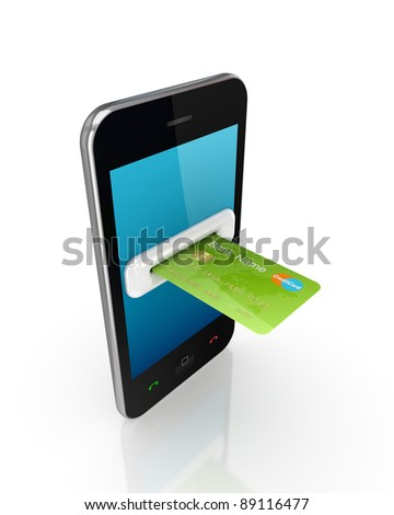 Green credit card and modern mobile phone.Isolated on white background.3d rendered.