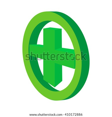 Green cross in the circle icon, cartoon style  - stock photo