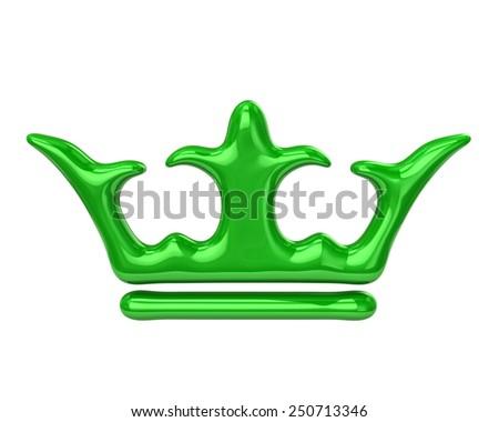 Green crown icon - stock photo