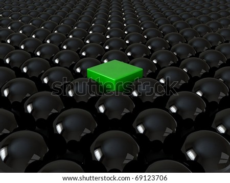 Green cube among black spheres, standing out in the crowd concept - stock photo