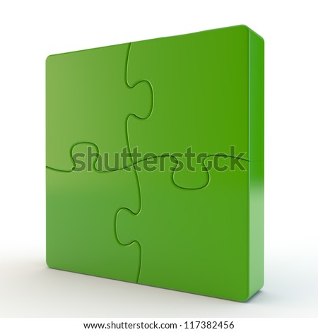green cube is divided into puzzles - stock photo