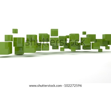 green cubes - stock photo
