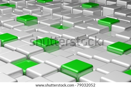 Green Cubes Design Background - stock photo